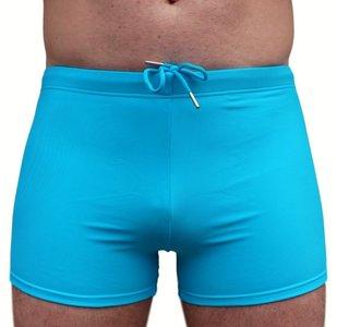 Italiaanse Zwembroek Heren.Blauwe Zwembroek Neon Luxe Model Zwemboxer Effen